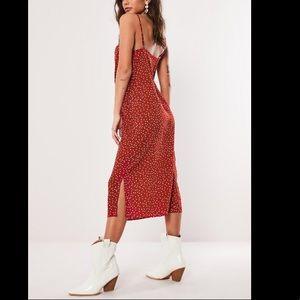 NWT! Red polka dot slinky midi dress - sz 12